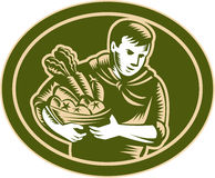 Agricoltore organico Crop Harvest Woodcut royalty illustrazione gratis