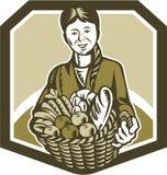 Agricoltore organico femminile Crop Harvest Woodcut illustrazione di stock