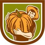 Agricoltore organico Holding Pumpkin Shield retro illustrazione di stock