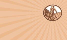 Agricoltore organico Sowing Seed Woodcut del biglietto da visita retro illustrazione di stock