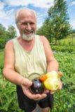 Agricoltore reale nel suo proprio giardino domestico Immagine Stock