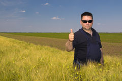 Agricoltore soddisfatto nel campo Immagini Stock Libere da Diritti