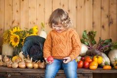 Agricoltore sorridente adorabile del bambino con il raccolto di autunno Immagine Stock Libera da Diritti
