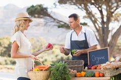 Agricoltore sorridente che discute con un cliente biondo Immagine Stock Libera da Diritti