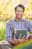 Agricoltore sorridente che per mezzo di una compressa digitale Immagini Stock