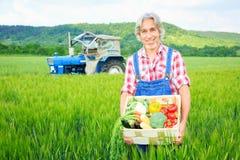 Agricoltore Standing In un campo Fotografie Stock