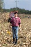 Agricoltore sul campo di grano Fotografie Stock Libere da Diritti