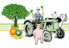 Agricoltore sul trattore con i suoi animali Fotografia Stock