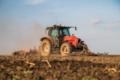 Agricoltore in trattore che prepara terra con il coltivatore di semenzaio Immagini Stock Libere da Diritti