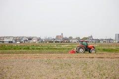 Agricoltore in trattore che prepara terra per seminare Immagine Stock