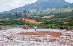 Agricoltore vietnamita sul campo Immagine Stock