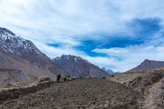 Agricoltore Working nei campi nel villaggio di Dhankar, valle di Spiti, Himachal fotografia stock