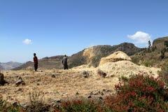 Agricoltori al raccolto dei cereali in Etiopia Fotografia Stock