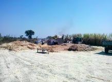 Agricoltori che producono zucchero bruno (sagù) in India rurale Immagini Stock