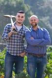 Agricoltori con le vanghe alla piantagione Fotografia Stock