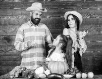 Agricoltori della famiglia con il fondo di legno del raccolto E Famiglia rustica immagine stock libera da diritti