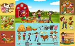 Agricoltori ed animali sull'azienda agricola illustrazione di stock