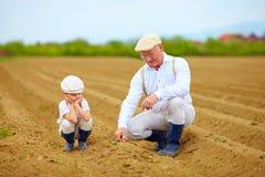 Agricoltori, famiglia sulla loro terra, controllante crescita di pianta Immagini Stock Libere da Diritti