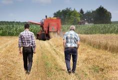 Agricoltori sul campo con il harbester dell'associazione Immagine Stock