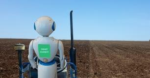 Agricoltura astuta di Iot, agricoltura nell'industria 4 0 tecnologie con il concetto di apprendimento automatico e di intelligenz immagini stock