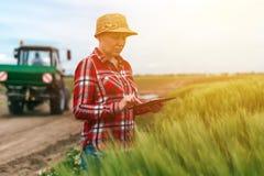 Agricoltura astuta responsabile, facendo uso della tecnologia moderna nel agricultur Immagine Stock Libera da Diritti