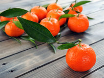 Agricoltura biologica delle clementine fresche, sulla base di legno Fotografia Stock