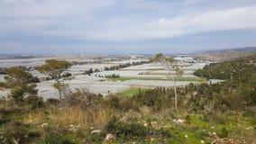 Agricoltura che coltiva le serre, vista dalle montagne di Carmel, Israele Fotografia Stock Libera da Diritti