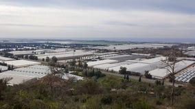 Agricoltura che coltiva le serre, vista dalle montagne di Carmel, Israele Fotografia Stock