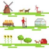 Agricoltura degli elementi nell'insieme geometrico di stile delle illustrazioni illustrazione vettoriale