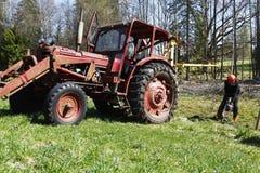 Agricoltura degli impianti del boscaiolo e di tracor Fotografia Stock