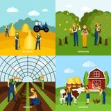 Agricoltura del manifesto quadrato di 4 icone piane Fotografie Stock Libere da Diritti