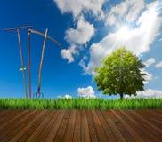 Agricoltura del pavimento di legno e del paesaggio Immagine Stock Libera da Diritti
