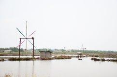 Agricoltura del sale o stagno di evaporazione del sale Fotografie Stock