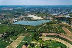 Agricoltura del serbatoio di acqua di sviluppo del territorio della zona industriale Immagine Stock