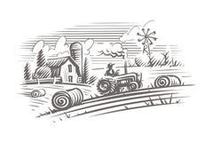 Agricoltura dell'illustrazione di stile dell'incisione del paesaggio Vettore, isolato, stratificato Illustrazione di Stock