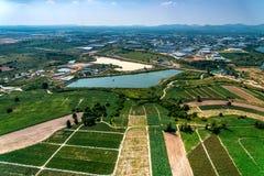 Agricoltura della foto dell'antenna di sviluppo della zona industriale Fotografie Stock Libere da Diritti