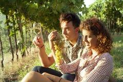 Agricoltura delle coppie che si rilassano dopo il raccolto dell'uva Immagini Stock