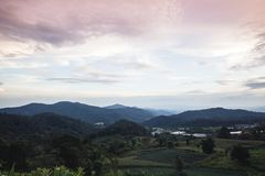 Agricoltura di montagna del prato della montagna a Sud-est asiatico nella sera nella stagione delle pioggie Immagini Stock Libere da Diritti
