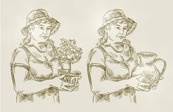 Agricoltura disegnata a mano dell'insieme di schizzo, facente il giardinaggio Vettore Immagini Stock