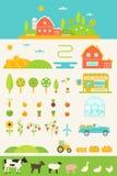 Agricoltura e coltivare l'insieme di elementi di Infographics Fotografia Stock Libera da Diritti