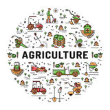 Agricoltura e linea icone di arte, infographics dell'azienda agricola, modello di giardinaggio di azienda agricola Immagine Stock