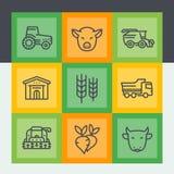 Agricoltura e linea icone di azienda agricola messe illustrazione di stock