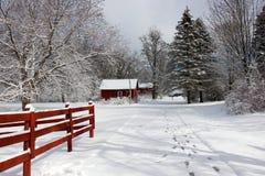 Agricoltura e vita rurale al fondo di inverno Immagini Stock