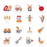 Agricoltura ed icone di azienda agricola Fotografia Stock Libera da Diritti