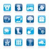 Agricoltura ed icone di azienda agricola Fotografia Stock