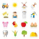 Agricoltura ed icone di azienda agricola Immagine Stock Libera da Diritti
