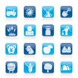 Agricoltura ed icone di azienda agricola Immagine Stock