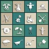 Agricoltura ed icone di azienda agricola. Illustrazione di vettore Fotografie Stock Libere da Diritti