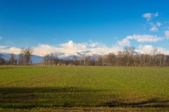Agricoltura intorno all'arco alpino Immagini Stock