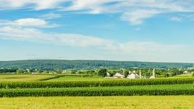 Agricoltura a Lancaster, PA del campo del granaio dell'azienda agricola del paese di Amish immagine stock libera da diritti